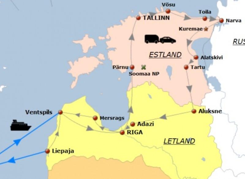Route rondreis Letland Estland 2014