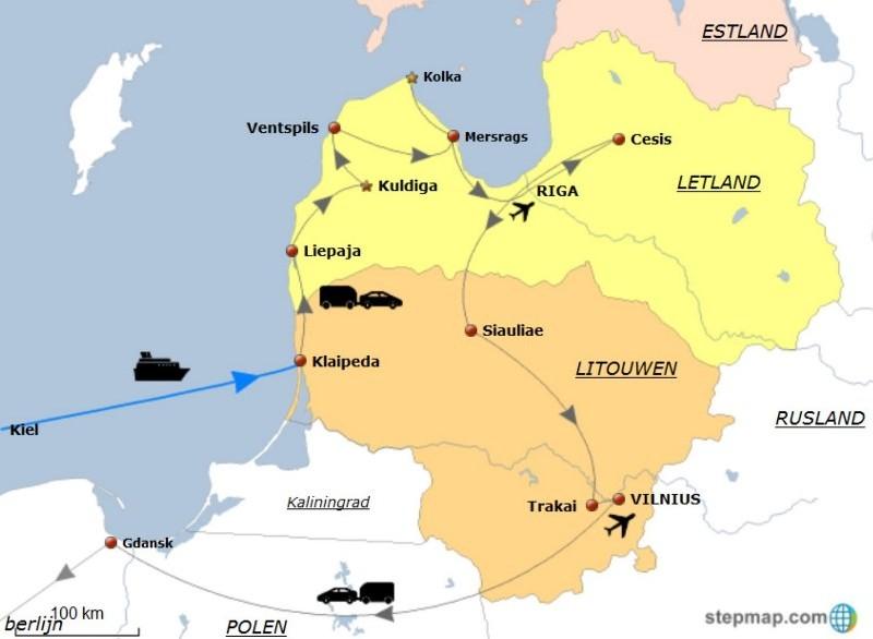 Route rondreis Litouwen-Letland 2013